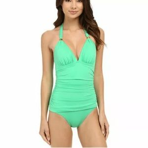 Tommy Bahama Pearl Solids One Piece Swimsuit Green